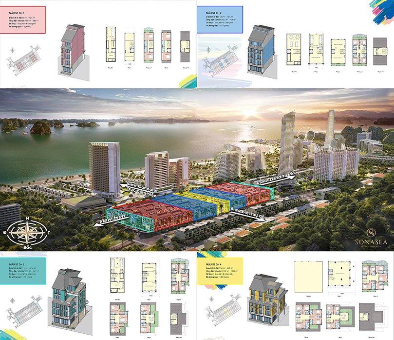 Thiết kế dãy shoptel dự án Sonasea Vân Đồn